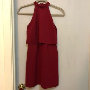 Wine red halter top dress